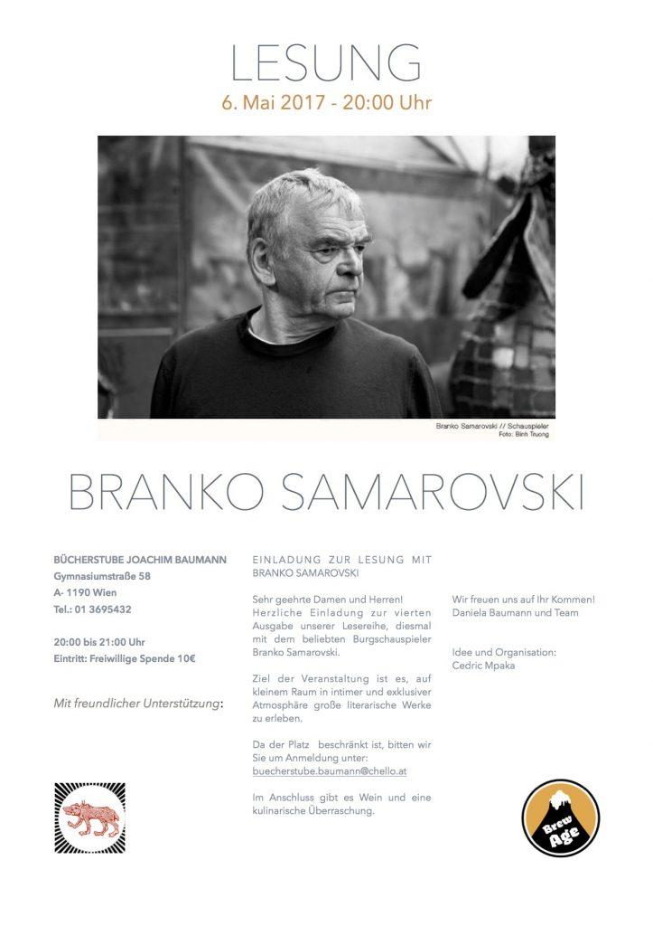 Lesung Branko Samarovski Ankündigung